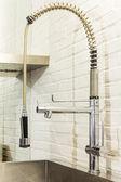 Kitchen, steel faucet — Fotografia Stock