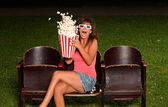 Portrait of a girl with popcorn — Stock Photo