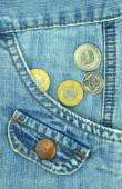 Jeans pocket with money — Stock Photo