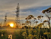 High voltage posts.High voltage tower sky background. — Stock Photo