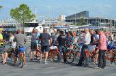 Tourists on bikes  in Barcelona, Catalonia, Spain — Fotografia Stock