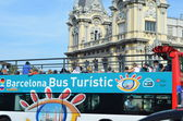 Blu tourist bus in Barcelona, Spain — Stock Photo