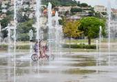 Square with fountain jets — Stock Photo