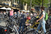Raw of bicycles in the Dutch city Amsterdam — Stock Photo