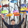 Man holding Bright umbrellas. Freedom concept — Stock Photo #58058745