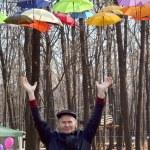 Man holding Bright umbrellas. Freedom concept — Stock Photo #58058749