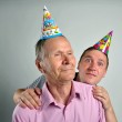 Funny Men Face . Crazy young and old man, portrait shoot, — Stock Photo #60361759