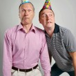 Funny Men Face . Crazy young and old man, portrait shoot, — Stock Photo #60361771