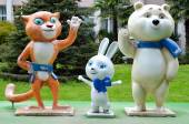Olympic winter games mascots in Sochi, Russia The Hare, the Polar Bear and the Leopard statues — Stock Photo