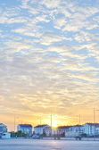 Scenic orange sunset sky background — Stock Photo