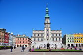 Colorful facade of buildings in Zamosc, Poland — Stock Photo