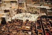 View of the dyeing in the city of Fes, Morocco — Stock Photo