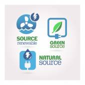 Ecologic source icon set — Vector de stock