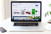 Laptop MacBook Pro Retina with site Ebay on the screen is on the — Stock Photo