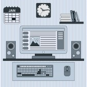 Home workplace  illustration — Stock Vector