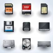 Data storage icon vector collection — Stock Vector