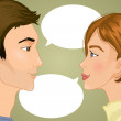 Woman and man with speech bubble, eps10 — Stock Vector #52119265