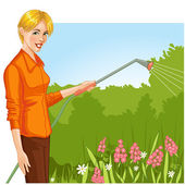 Young woman watering flowers in the garden, eps10 — Stock Vector