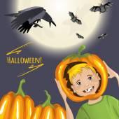 Cute card for Halloween with cartoon boy, pumpkins, crow and bats, eps10 — Stock Vector