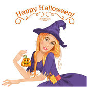 Halloween beautiful witch with pumpkin, eps10 — Stock Vector