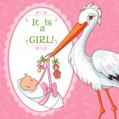 Baby greetings card with stork and pacifier for girl, eps10 — Stock Vector