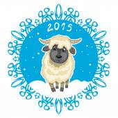 Card with blue snowflake and little cute sheep, symbol of 2015 new year — Stock Vector