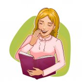 Young woman laughs about book, eps10 — Stock Vector