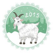 Card with grey-green snowflake and goat, symbol of 2015 new year — Stock Vector