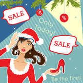 Young stylish woman with shoe for Christmas discount advertisement, eps10 — Stock vektor