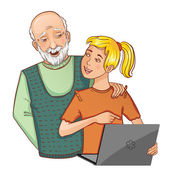 Granddad and granddaughter working on laptop, eps10 — Stock Vector