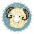 Card with blue-green snowflake and little cute ram, symbol of 2015 new year, eps10 — Stock Vector #57765903