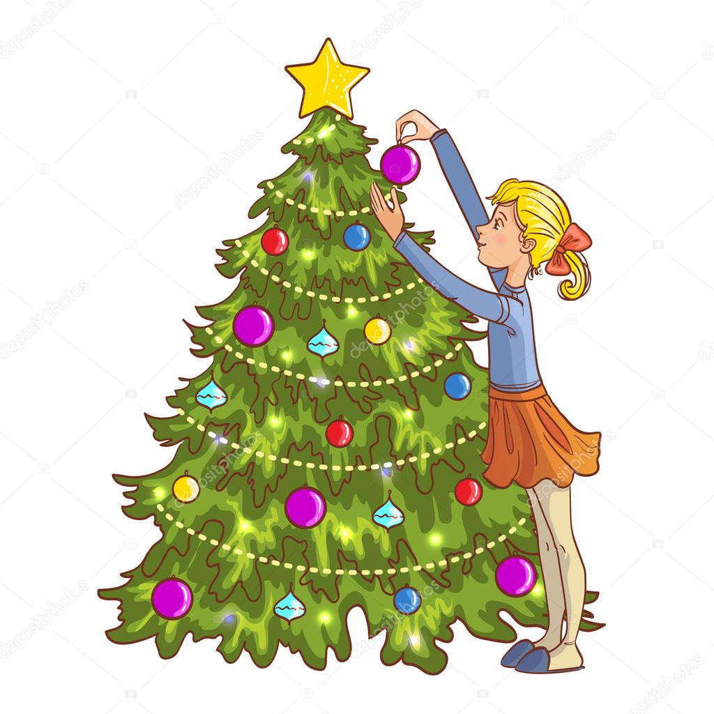 Little Girl Christmas Tree: Little Cartoon Girl Decorates Christmas Tree With Balls