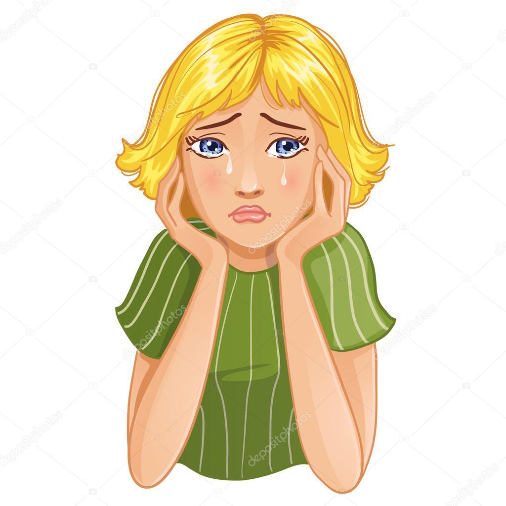 fille de dessin anim triste qui pleure image vectorielle solgas 61584037. Black Bedroom Furniture Sets. Home Design Ideas
