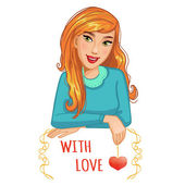 Cute cartoon blond girl with red heart and message, eps10 — Cтоковый вектор