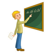 Schoolboy at blackboard — Stock Vector
