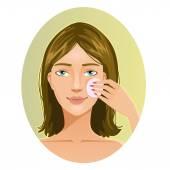 Młoda kobieta czyszczenie twarzy z gąbki, eps10 — Wektor stockowy