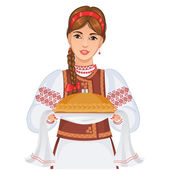 Young woman in Ukrainian national clothes with round loaf, eps10 — Stock Vector