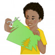 African American boy is cutting color paper with scissors — Stock Vector #69920809