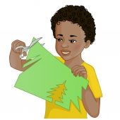 African American boy is cutting color paper with scissors — Stock Vector