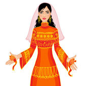 Vector image of ceremony at henna night, kina gecesi, a bride in ceremonial dress, eps10 — Cтоковый вектор