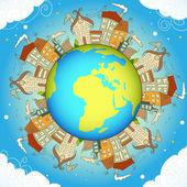 Cartão de conceito decorativo com casas ao redor da terra, eps10 — Vetor de Stock
