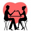 Silhouette of couple in café on the background with red heat — Stock Vector #72607303