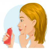 Young girl applies a base on the skin during her makeup ritual — Stock Vector
