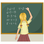 Schoolgirl resolves mathematical tasks on blackboard, eps10 — Stockvektor