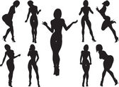 Silhouettes of women with curvaceous and erotic poses-vector 10 EPS — Stock Photo