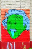 Portrait of Einstein on the wall. — Foto Stock