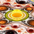 Exotic multicolored patterns with circles and wavy curves. — Stock Photo #83423074
