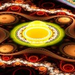 Exotic multicolored patterns with circles and wavy curves. — Stock Photo #83423082