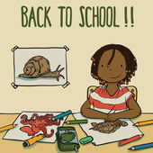 Confident Girl Drawing Animals At School - Back To School Theme. — Stock Vector