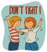 Two Kids Fighting (girl and boy) -  Illustration For Children. — Stockvektor